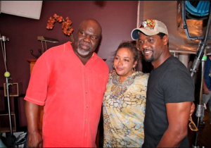 Bishop T.D. Jakes, Award-winning Director Neema Barnette and actor Blair Underwood on the set of Woman Thou Art Loosed: On the 7th Day.